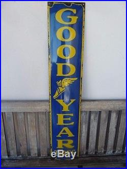 Old GOODYEAR porcelain sign 39 heavy convex tires advertising tyres service