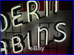 Old Modern Cabins Porcelain Sign with Neon 48 x 48