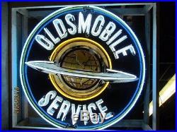 Old Oldsmobile Service Porcelain Sign with Neon 60 Diameter SSPN