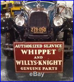 Old Original 1920's Whippet Willys Overland Double-Sided Porcelain Sign Vintage