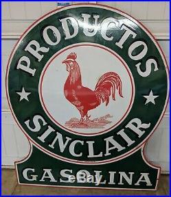Old Original Sinclair Productos Gasoline Porcelain Farm Oil Sign TAC Authentic