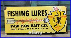 Old Paw Paw Bait Co. Fishing Lures Porcelain Gas Station Pump Sign Michigan