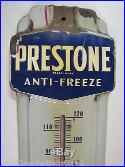 Old Porcelain PRESTONE ANTI-FREEZE Thermometer advertising Sign gas oil auto