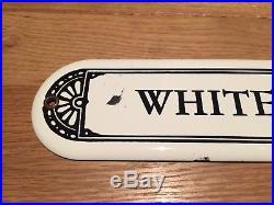 Old Porcelain WHITE MEN Sign Gas Station Restaurant Diner Bathroom Segregation