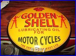 Old RARE GOLDEN SHELL MOTOR CYCLES LUBRICATING OIL PORCELAIN ENAMEL SIGN