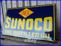 Old SUNOCO. Porcelain sign 20 heavy convex gasoline oil lubester gas service