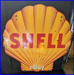 Old Shell Gas Motor Oil 48 inch Station DSP Porcelain Sign AUTHENTIC TAC