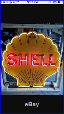 Old Shell Gasoline Porcelain Sign with Neon 48W x 48H SSPN