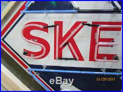 Old Skelly Porcelain Sign with Neon Displays 66 x 66 SSPN Neon Sign