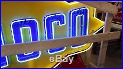 Old Sunoco Porcelain Sign with Neon & Flashing Arrow 8 FT W x 7 FT H
