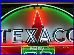 Old Texaco Porcelain Sign with Neon 72 Diameter SSPN Neon Sign