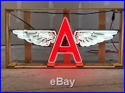 Old Tydol Flying A Porcelain Sign with Neon 52 Wide SSPN