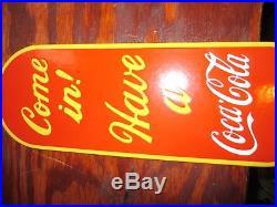 Old USED Coca Cola Door Push Porcelain Enamel Sign Coca Cola Porcelain Sign