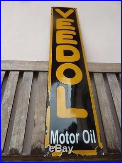 Old VEEDOL Oil, porcelain sign 39 convex advertising service racing Flying A