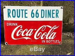 Old Vintage Porcelain US Route 66 Diner Gas Coca Cola General Store Service Sign