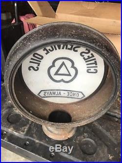 Original 15 Gas Pump Globe Sign CITIES SERVICE OILS Not Porcelain Metal Body