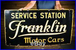 Original 1920's Franklin Motor Cars Dealership Porcelain Sign -WOW