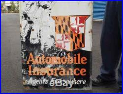 Original 1920's Maryland Casualty Co. Automobile Insurance Porcelain Gas Sign