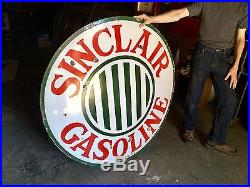 Original 1920's Porcelain Sinclair Gasoline 48 In. Advertising Sign Gas Oil Nice