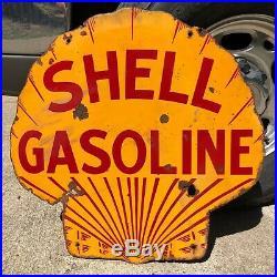 Original 1920's Shell Gasoline Porcelain Sign Double Sided 24