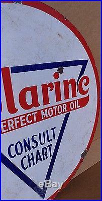 Original 1920's Sign Standard Polarine Motor Oil Double Sided Porcelain 30
