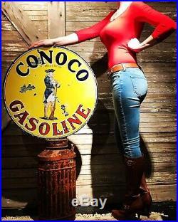 Original 1920s 25.5 Conoco Minuteman Porcelain Sign Oil Gas
