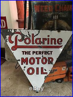 Original 1920s Double Sided Porcelain Polarine Curb Sign Service Station Gas Oil