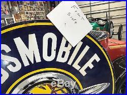 Original 1930-1950 Double Sided Porcelain Oldsmobile Service Dealership Sign 60