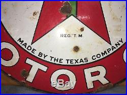 Original 1930's 42 Texaco porcelain sign two sided Marked 1-30, January 1930