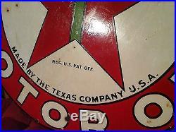 Original 1930's 42 Texaco vintage porcelain sign two sided