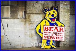 Original 1930's Bear Alignment Tire Gas Oil Porcelain Tire Sign