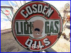 Original 1930's Porcelain Double Sided Cosden Liquid Gas And Oil Sign