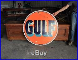 Original 1930's Porcelain Gulf Gasoline 42 In. Advertising Sign