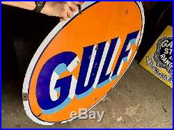 Original 1930's Porcelain Gulf Gasoline 42 Inch Advertising Sign Gas Oil Nice