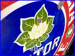 Original 1930's Porcelain Magnolia Motor Oil Gasoline Advertising 42 In. Sign