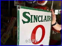 Original 1930's Porcelain Sinclair Opaline Motor Oil Advertising Sign Nice