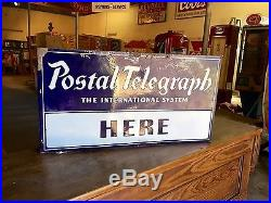 Original 1930's Porcelain Telegraph Here Advertising Flange Sign Gas Oil