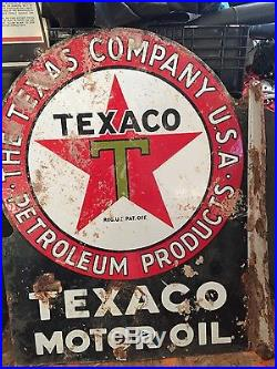 Original 1930's Porcelain Texaco Flange Sign