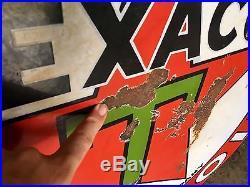Original 1930's Porcelain Texaco Gasoline Motor Oil Advertising Sign 42 inch
