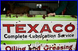 Original 1930's Porcelain Texaco Oiling and Greasing Advertising Sign Rare