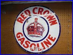 Original 1930's Red Crown Gasoline Double Side Porcelain 28 Sign
