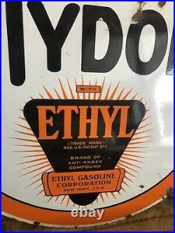 Original 1930s Porcelain 30 Tydol Ethyl Gas Oil Original Sign