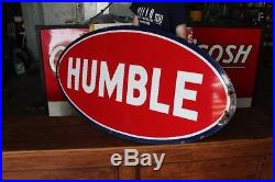 Original 1930s Porcelain Humble Gasoline Advertising Sign Nice Small Version