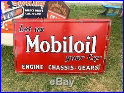 Original 1930s Porcelain Mobil Gargoyle Large Advertising Sign Gas Oil Nice
