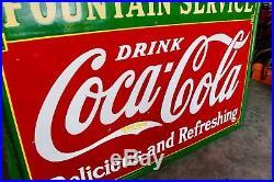 Original 1932 Porcelain Coca Cola Fountain Service Advertising Sign Nice
