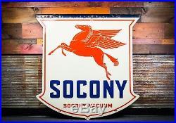Original 1934 Socony Motor Oil Gas Pegasus Porcelain Sign