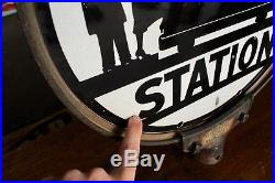 Original 1940's-50's Porcelain Bus Station Advertising Curb Sign With Frame Nice