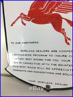 Original 1940's Mobilgas Restroom Porcelain Sign West Coast Black Boarder Rare