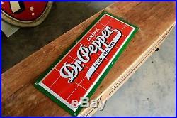 Original 1940s Porcelain Dr. Pepper Brick Advertising Soda Sign Nice
