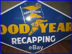 Original 1946 Goodyear Recapping Porcelain Sign